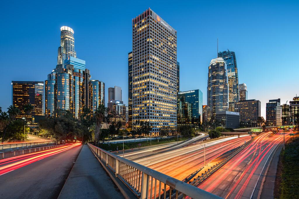 Los Angeles skyline from 4th Street bridge by Michael Muraz